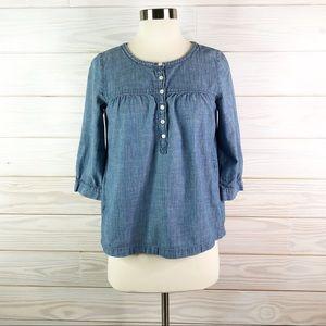 J. Crew Chambray Shirt Popover Blouse Top Size XS